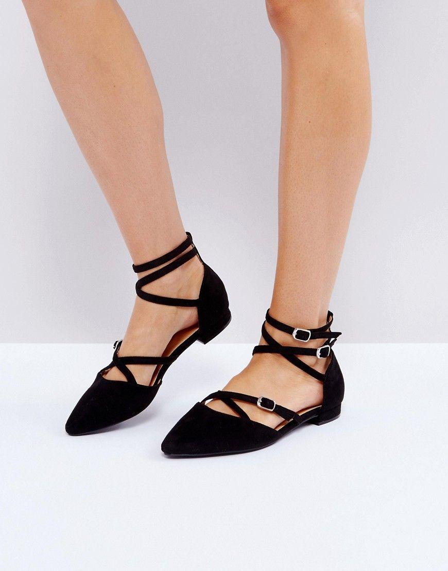 0242b57902c887 RAID Marci Ankle Strap Flat Shoes - Black