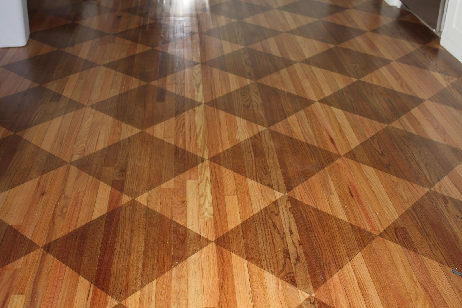 Checkerboard Stained Wood Floor In Kitchens Flooring
