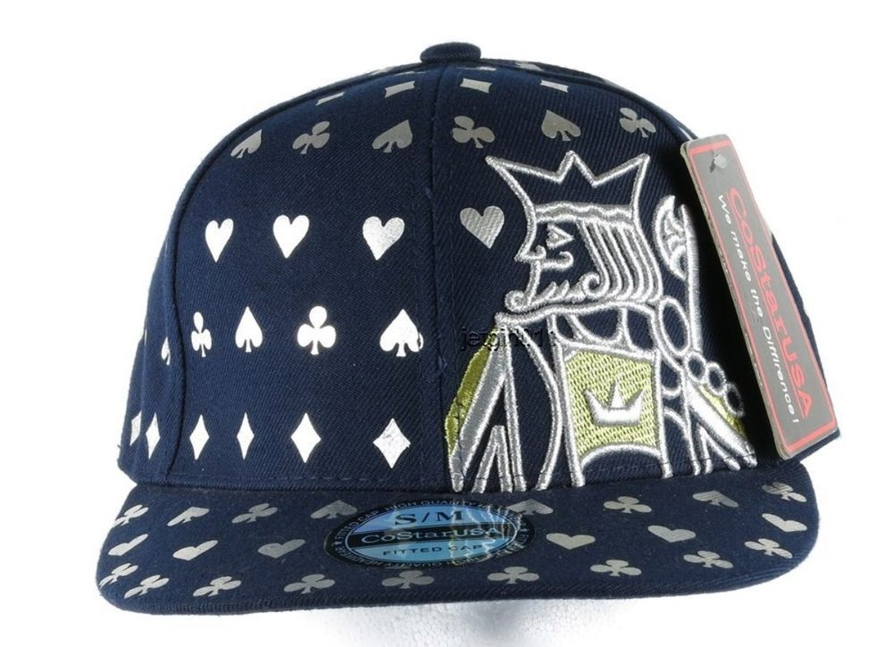12f71b0d4 CoStarUSA Baseball Cap Hat Navy Silver Gold Fitted S/M Poker King ...