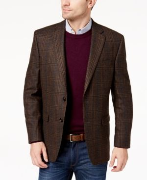 442111fba36 Lauren Ralph Lauren Men s Classic-Fit Ultraflex Brown Blue Windowpane Plaid  Wool Sport Coat - Brown 46R