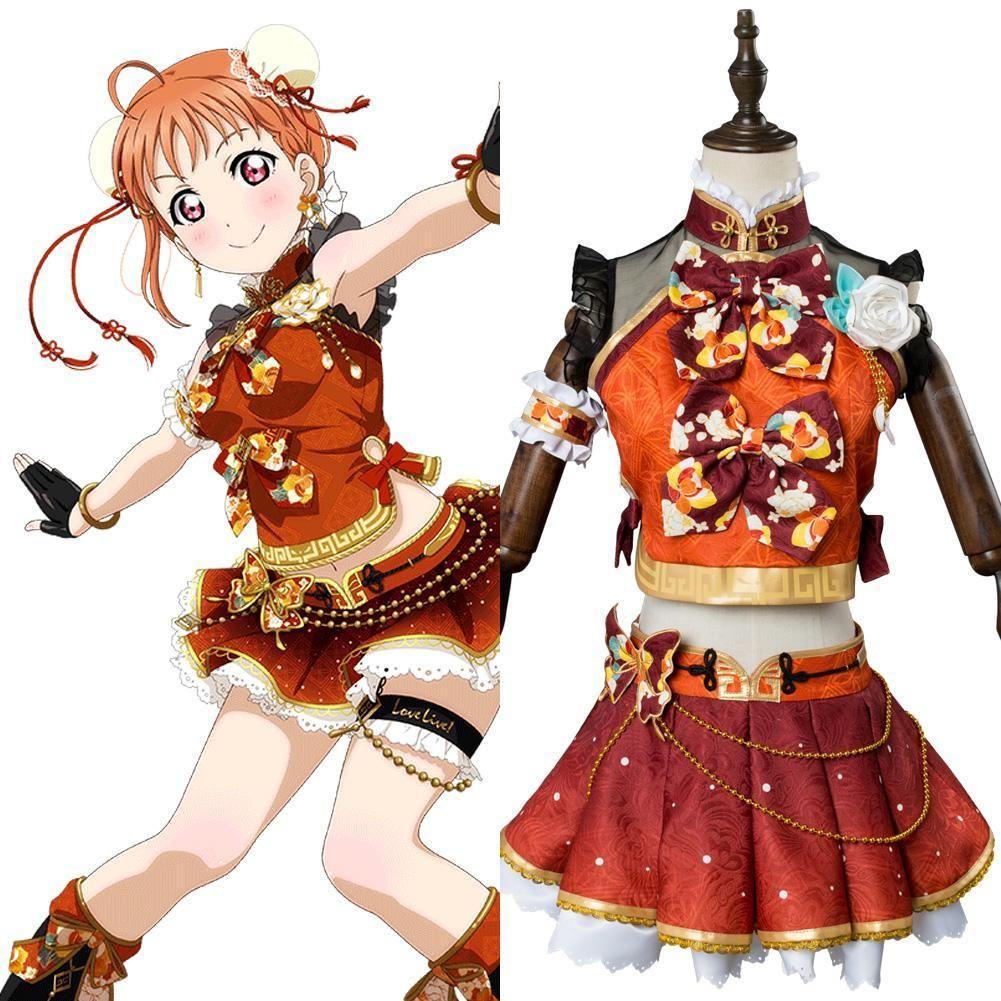 Love Live!Aqours Takami Chika Punk Rock Cosplay Costume Stage Suit Dress Uniform