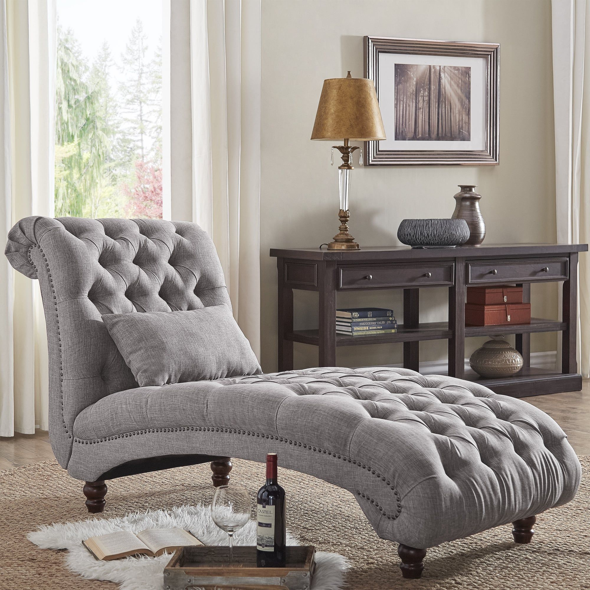 Best Knightsbridge Tufted Oversized Chaise Lounge By Inspire Q 400 x 300
