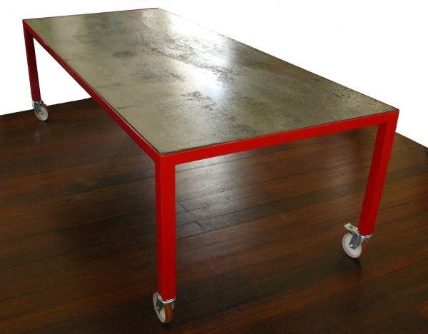 Attractive Red Legs  Concrete And Power Coated Steel Table On Wheels   Chris Maple,  Metal