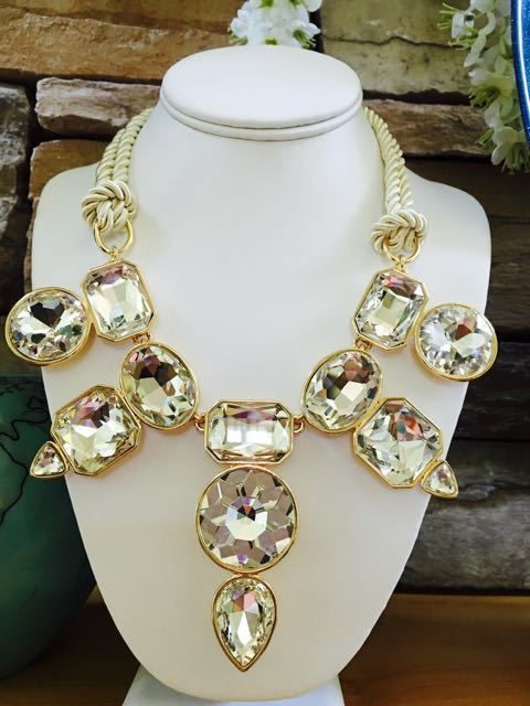 NWOT Chico's Crystal Statement Collar Bib Pendant Necklace Rope Chain Choker #Chicos #StatementBibCollarBoutiqueNecklaceJewelry
