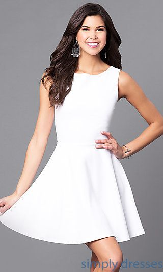 CH-2420-W - Cut-Out Semi-Formal Short White Party Dress ...