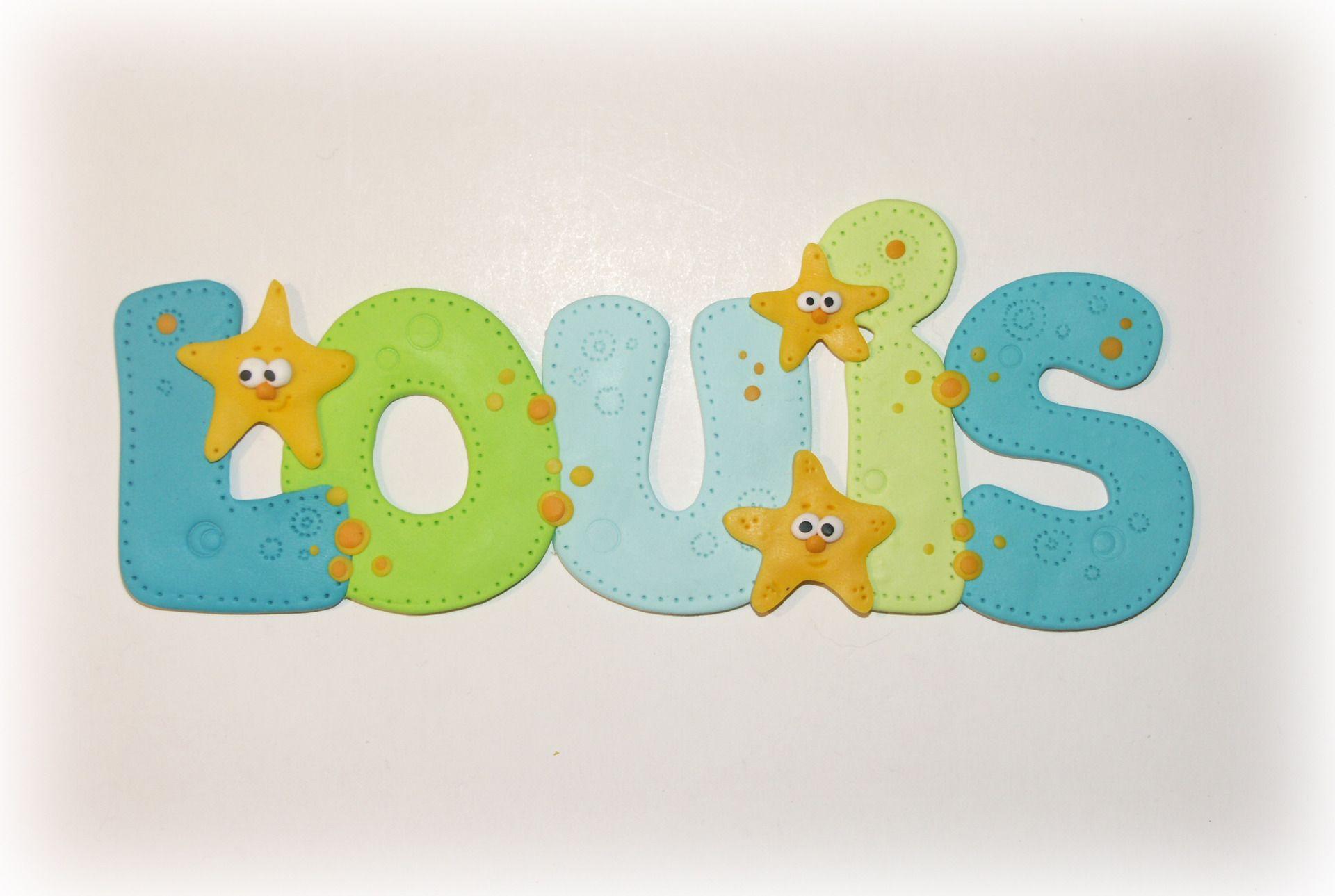 """prénom plaque de porte """"Louis"""" vert et bleu en fimo Autres par"""
