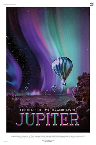 Jupiter Experience the mighty auroras Greeting by RetroPrintmaker