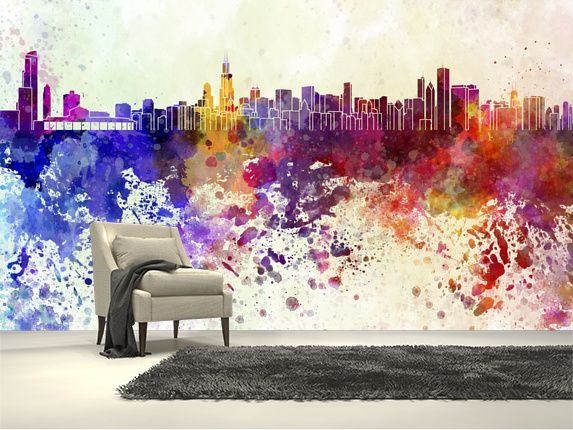 ... Chicago Abstract Wall Mural Room Setting ... Part 94