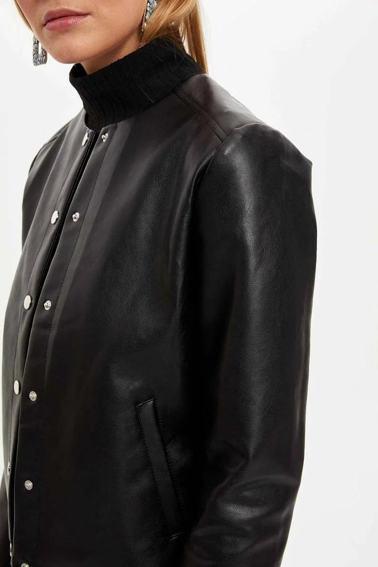 Siyah Kadin Dugmeli Suni Deri Ceket 1140307 Defacto 2020 Deri Ceket Deri Kadin