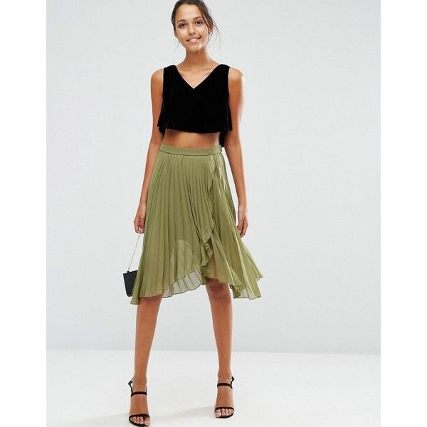 d7b20f5ea5 ASOS Pleated Midi Skirt with Wrap Front Detail (£38) ❤ liked on Polyvore