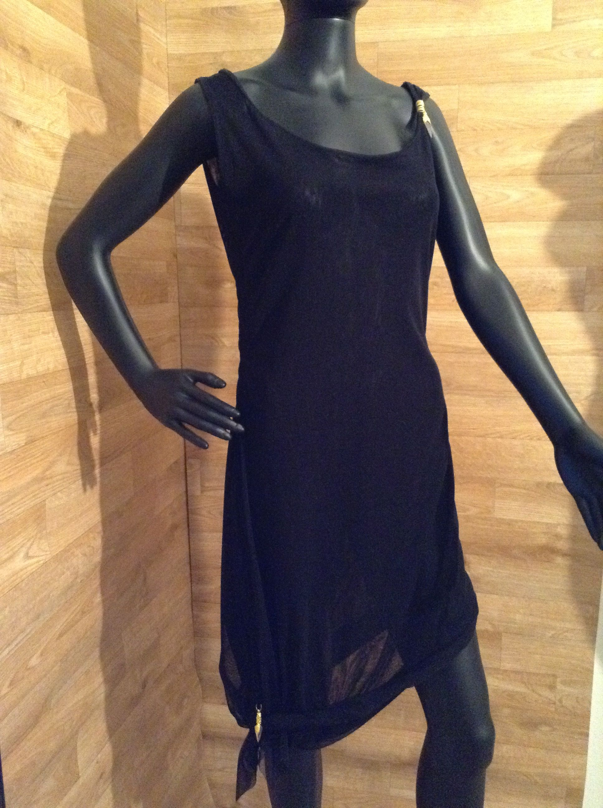 LBD WITH GOLD CHARMS SEE THROUGH SHEER