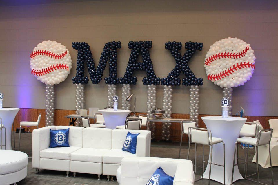 Yankees baseball themed bar mitzvah name in balloons