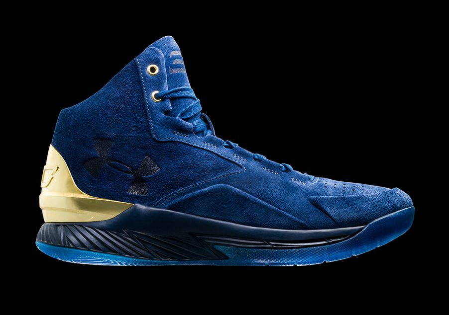sports shoes c6279 daf71 Under Armour Curry Lux 1 in mid-top suede navy blue with ...
