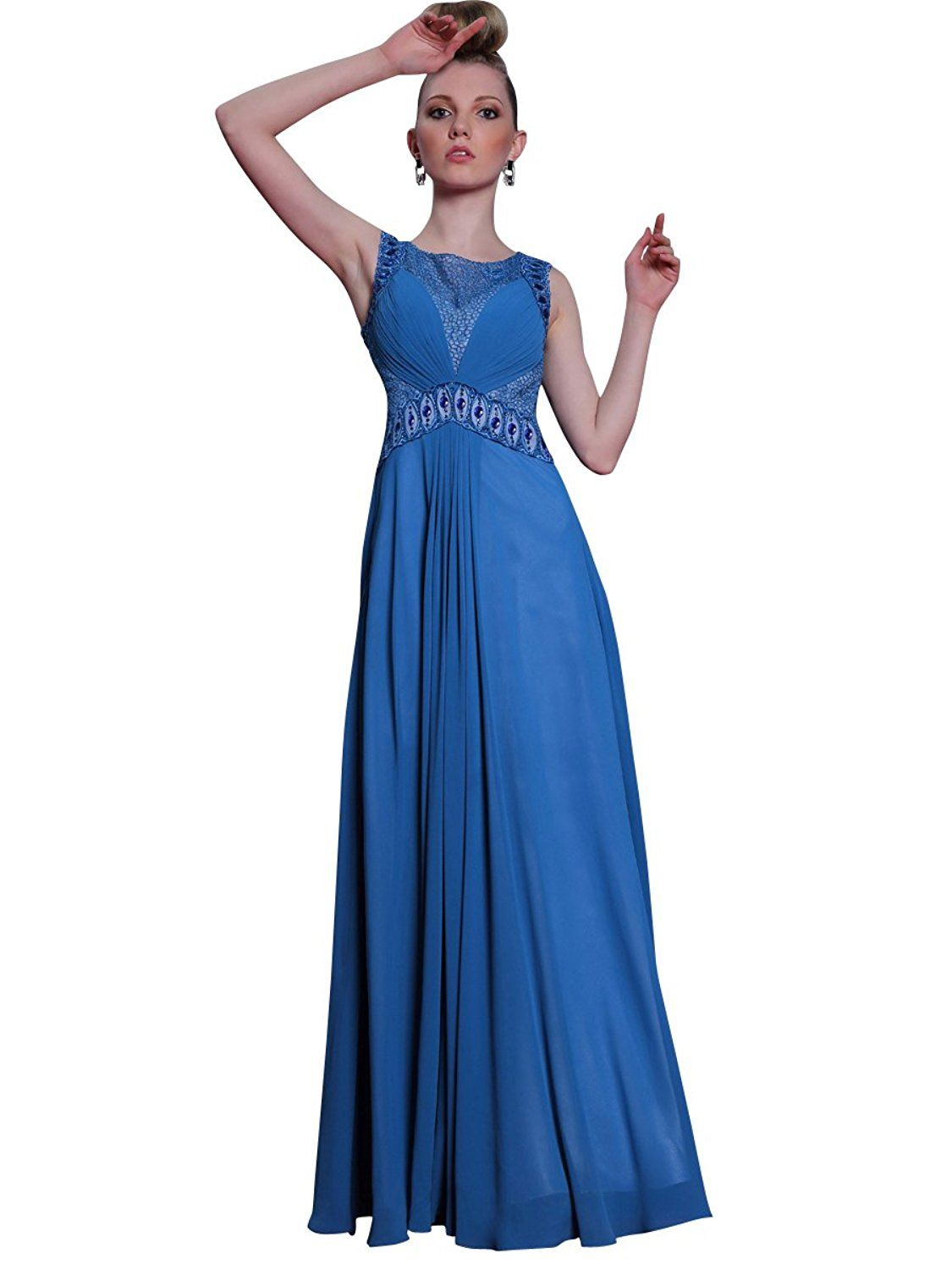 Zhiyuan Sleeveless Rhinestone Empire Floor Length Mother of Bride Dress ** Additional details at the pin image, click it  : Mother of the Bride