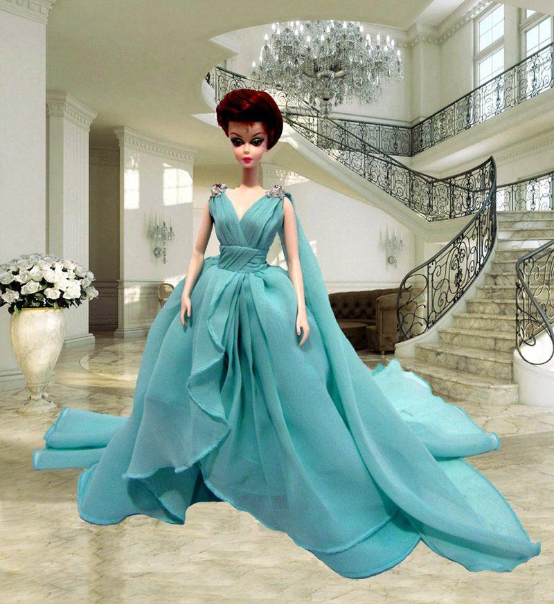 doll Silkstone Barbie Blue Chiffon Gown