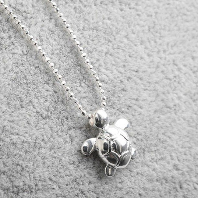 Photo of How nice Original Sterling Silver Lovely Glossy Small Turtle Pendant Necklace ! …