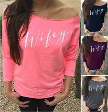 New Women Sexy Fashion Long Sleeve Cotton Tops Shirt Casual Loose Blouse T-shirt