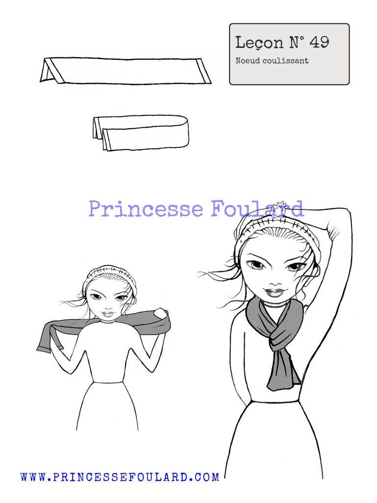 Comment faire un noeud coulissant pour foulard homme ou femme. Faire un noeud  avec un foulard carré ou rectangle qui coulisse autour du cou. 78a4dbf2638