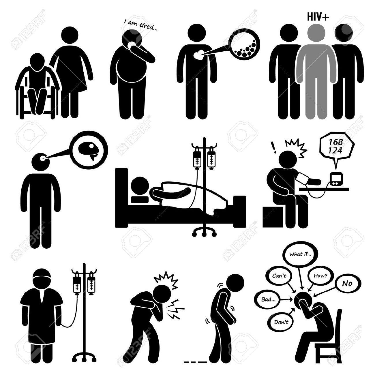 Man Malattie Comuni E La Malattia Stick Figure Pittogrammi