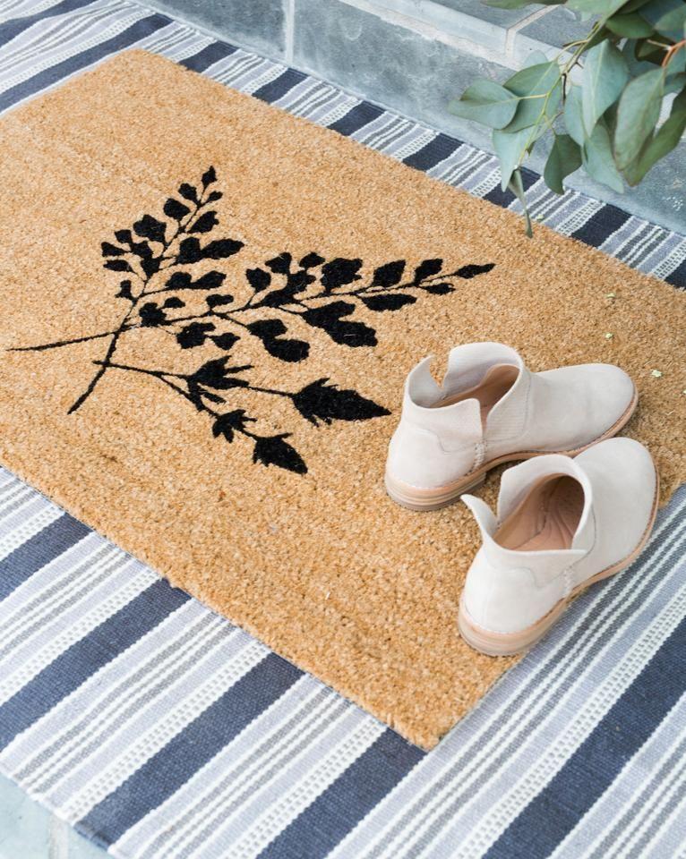 Spring Doormat Front Door Styling Fern Design Natural Rugs Indoor Outdoor Rug Layering