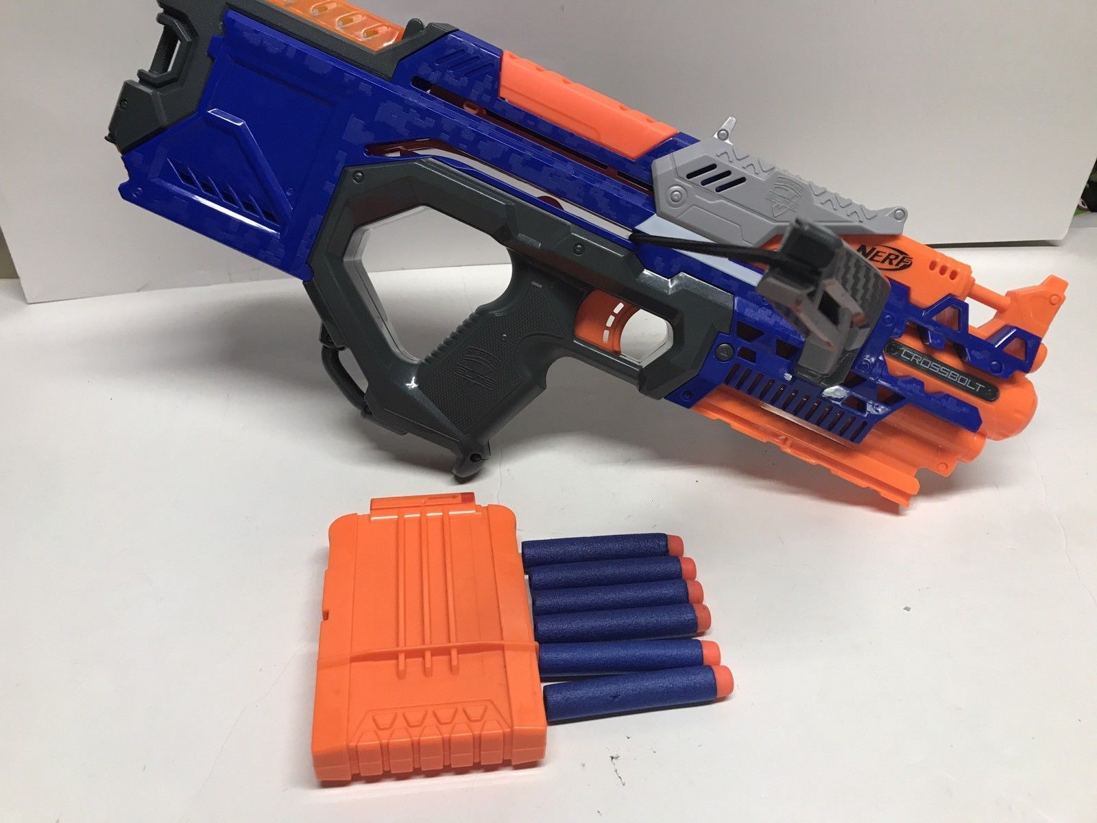 Nerf N strike Crossbolt Euc With Clip And Darts Works Well Not Faded