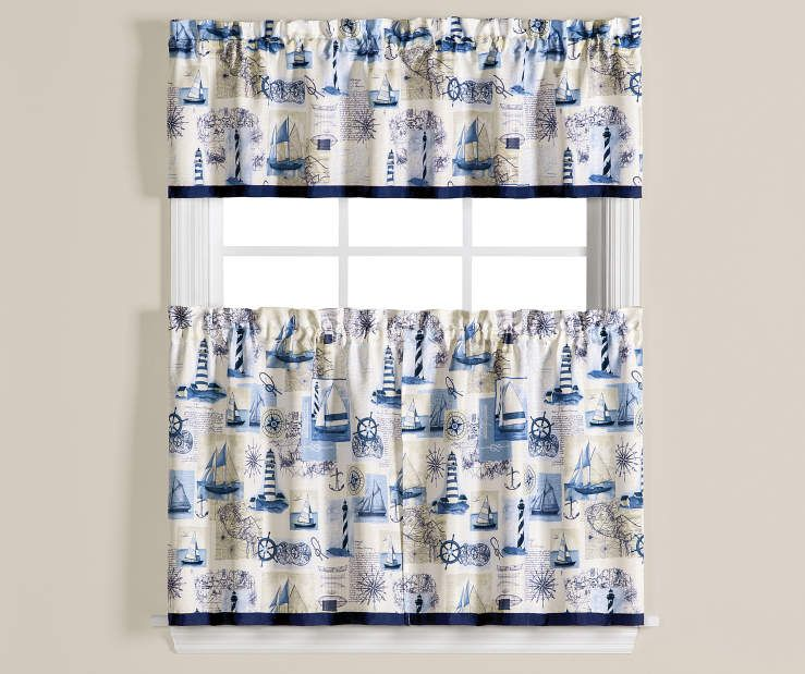 Living Colors Meridian Blue White Kitchen Tier Valance 3 Piece