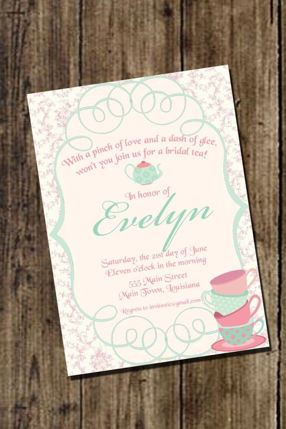 Bridal Tea Invitation Vintage Party Wedding Shower
