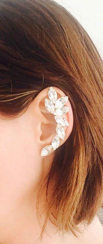 The Chloe  Handmade Crystal Ear Cuff by MoCoLaJewelry on Etsy