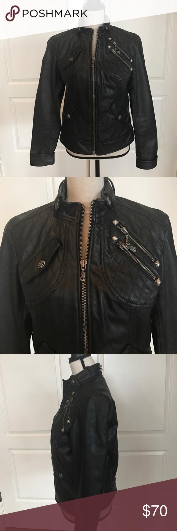 Affliction black leather like jacket Jackets, Affliction