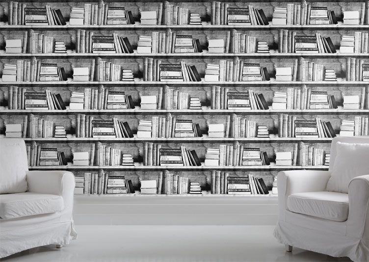 Papier Peint Livres Bibliotheque papier peint trompe l'oeil livres noir et blanc dans une