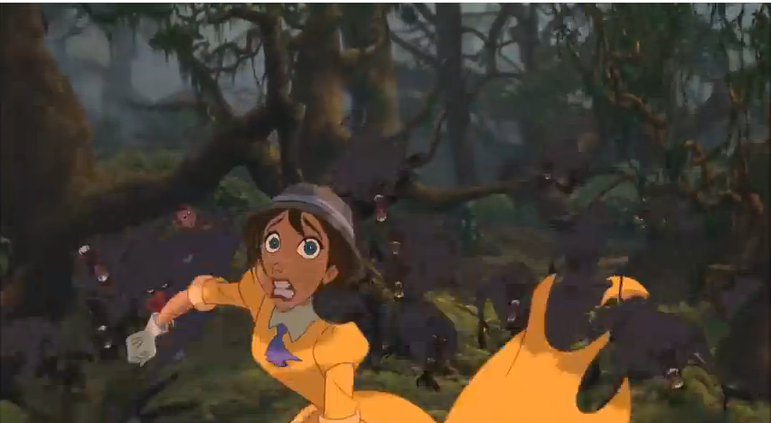 Jane runs for her life from the angry Baboons and loses the piece of her dress