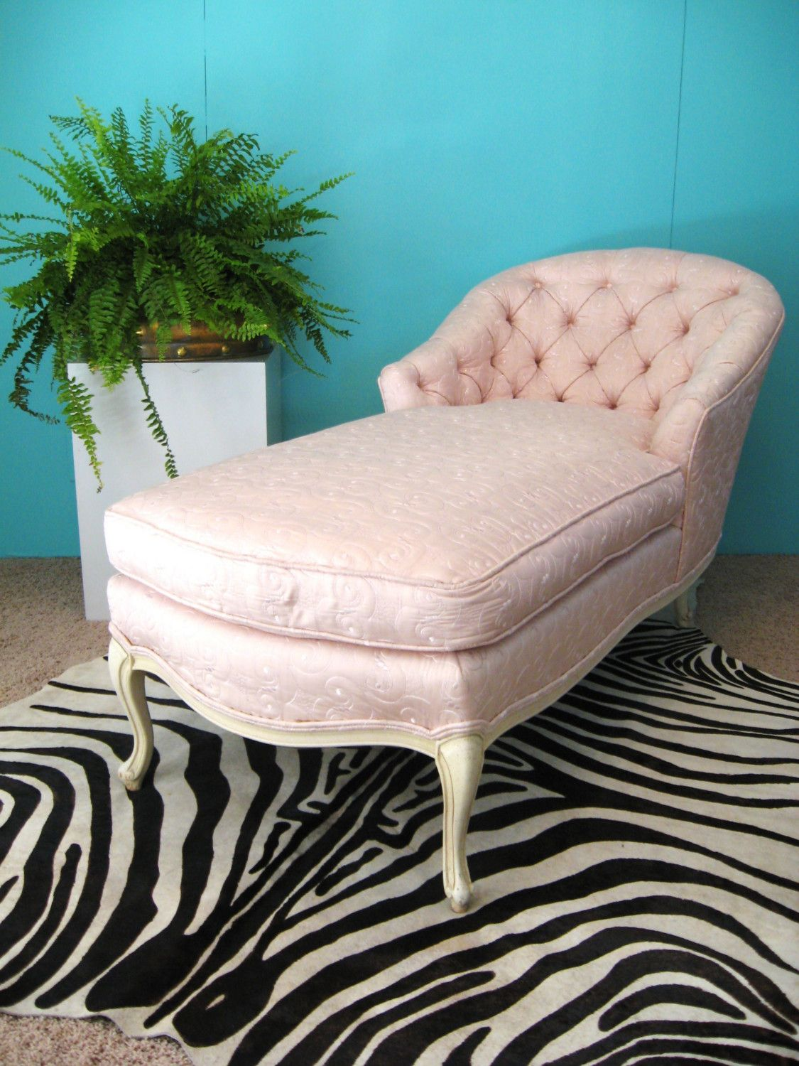 Fabulous French Pink Embroidered Silk Vintage Chaise Lounge Chair