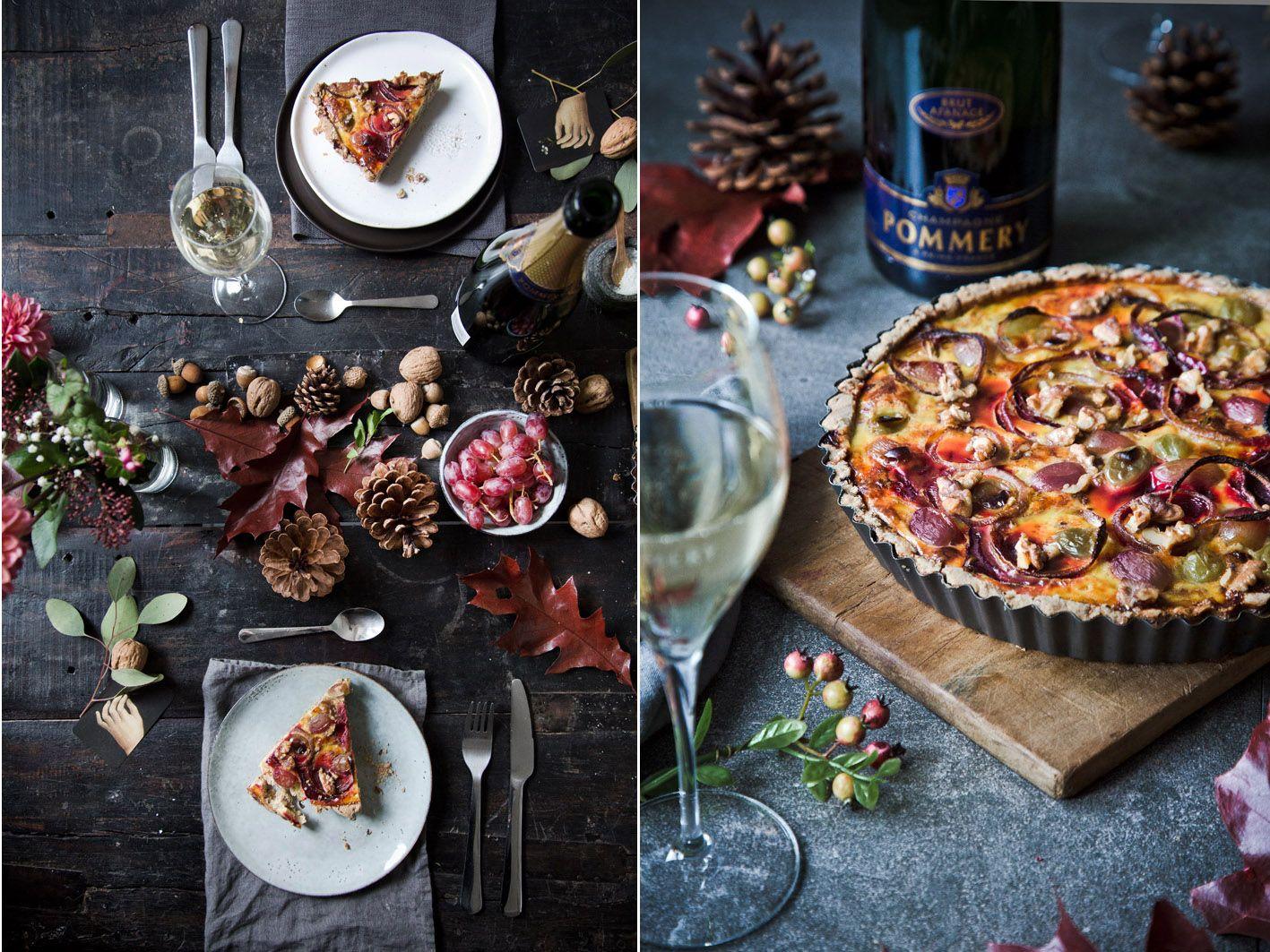 Herbstliches Dinner mit Winzerquiche und Champagner. #falldinnerrecipes