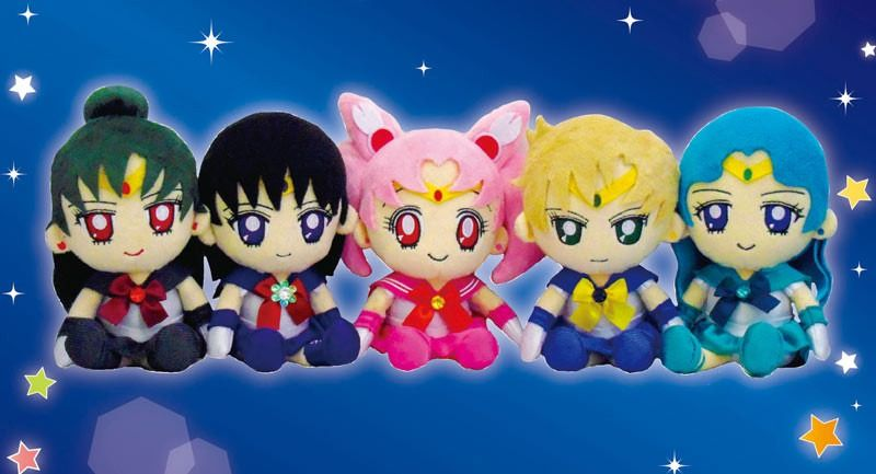 set peluches sailor moon chibimoon uranus neptune pluto