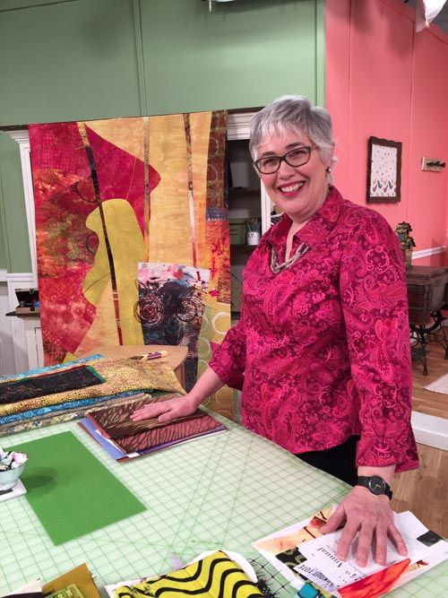 Artist Pat Pauly On The Set Of Quilting Arts Tv Series 1600