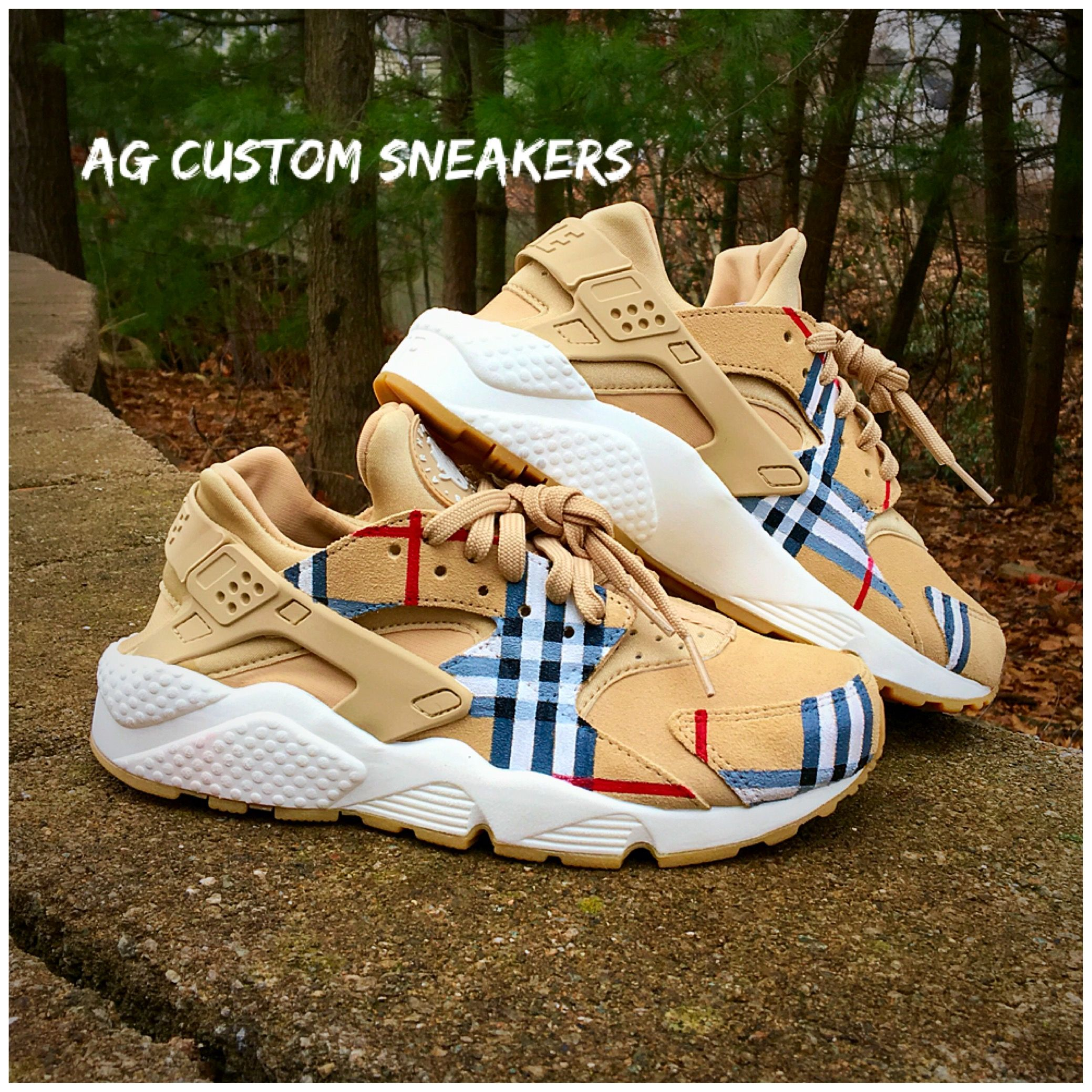 1d52df1a815c Nike Huarache · Burberry Custom Sneakers by AG Custom Sneakers https   www. etsy.com