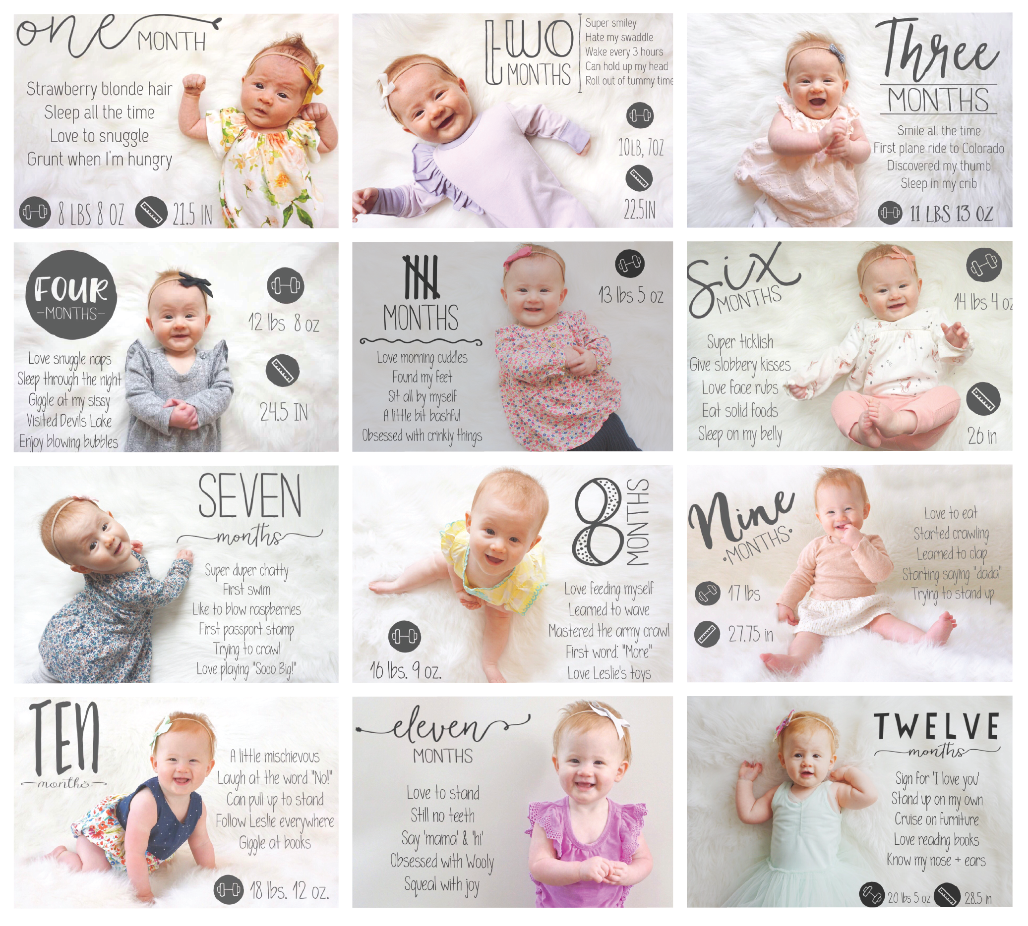 Monthly Baby Photo Ideas To Capture Your Baby S First Year Download The Little Nugget App Baby Milestone Photos Baby Milestones Pictures Monthly Baby Photos