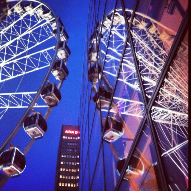 The Manchester wheel reflected in Selfridges