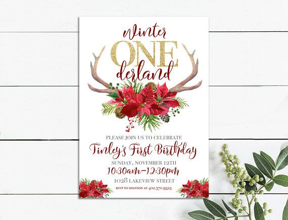 Winter Onederland Party Invitations