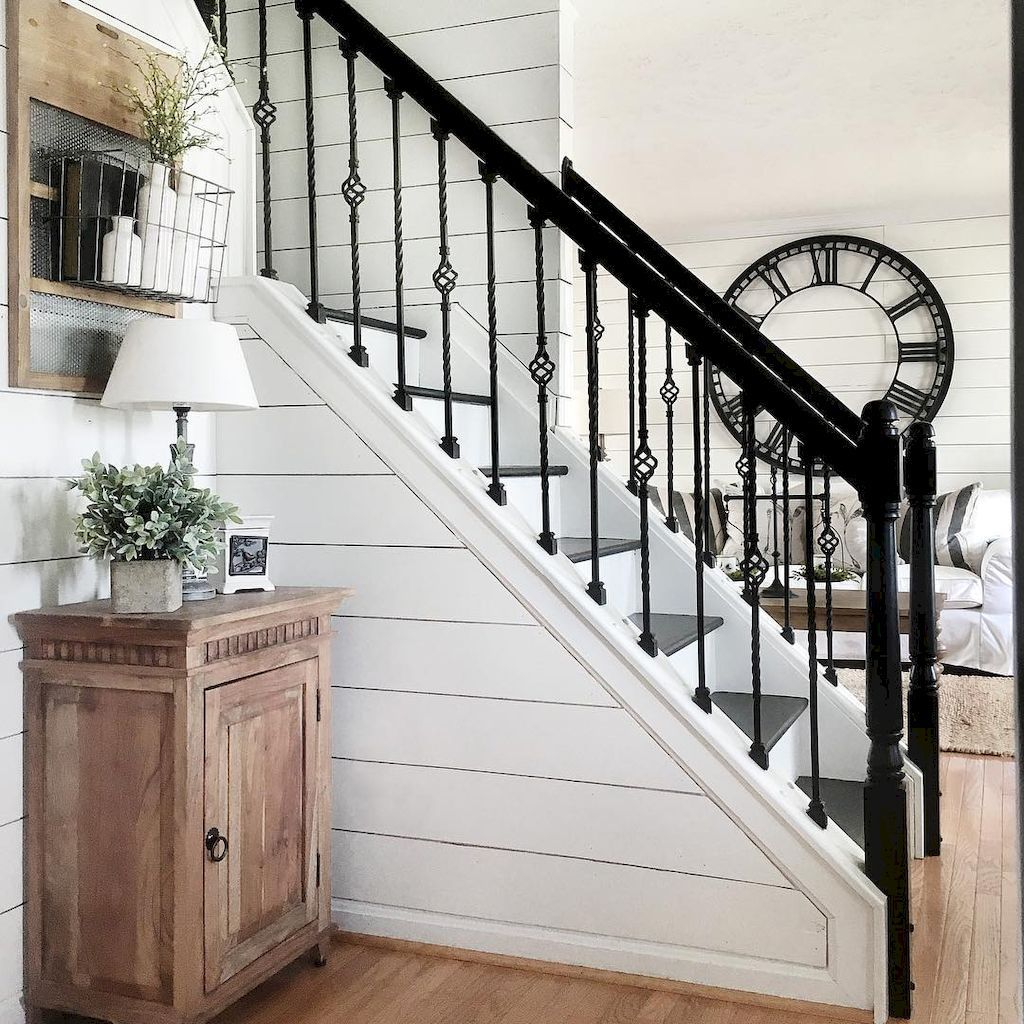 Best Pin By Tamara Slagter On For The Home Farmhouse Stairs Staircase Makeover Staircase Remodel 400 x 300
