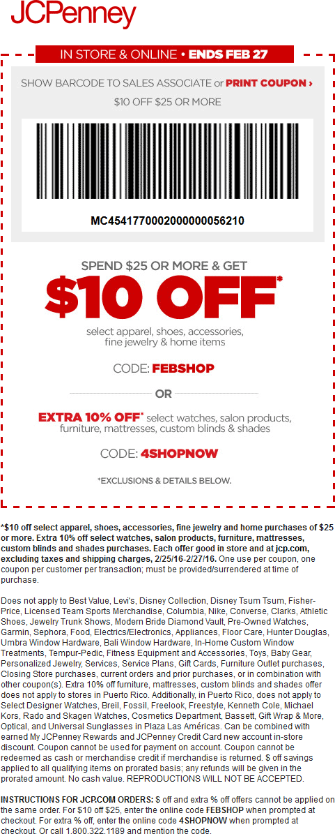 Pinned February 26th: $10 off $25 at JCPenney or online via promo