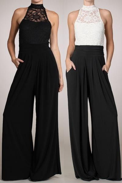 WOMEN SLEEVELESS LACE TURTLE NECK JUMPSUIT Wide Leg Pants Long ...
