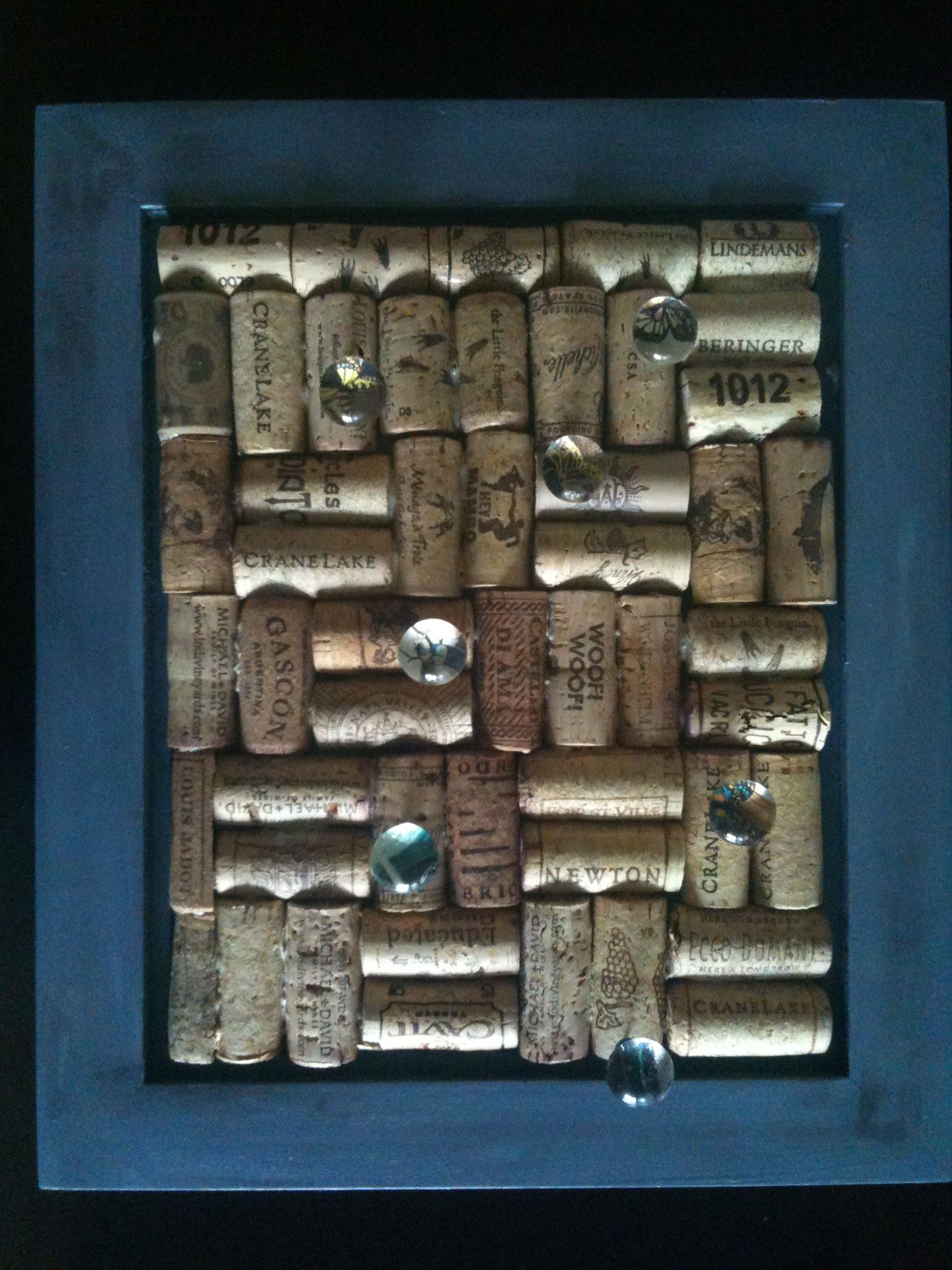 Picture Frame Cork Board With Glass Marble Thumb Tacks