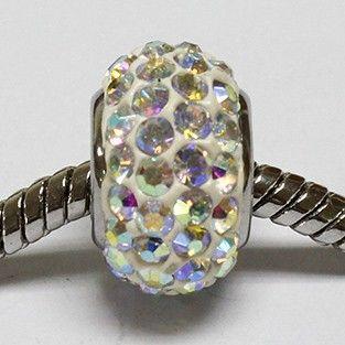 beads di color bianco cristallo arurora boreale