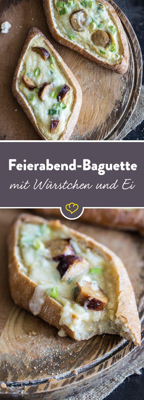 Feierabend-Baguettes mit Bratwurst und Ei