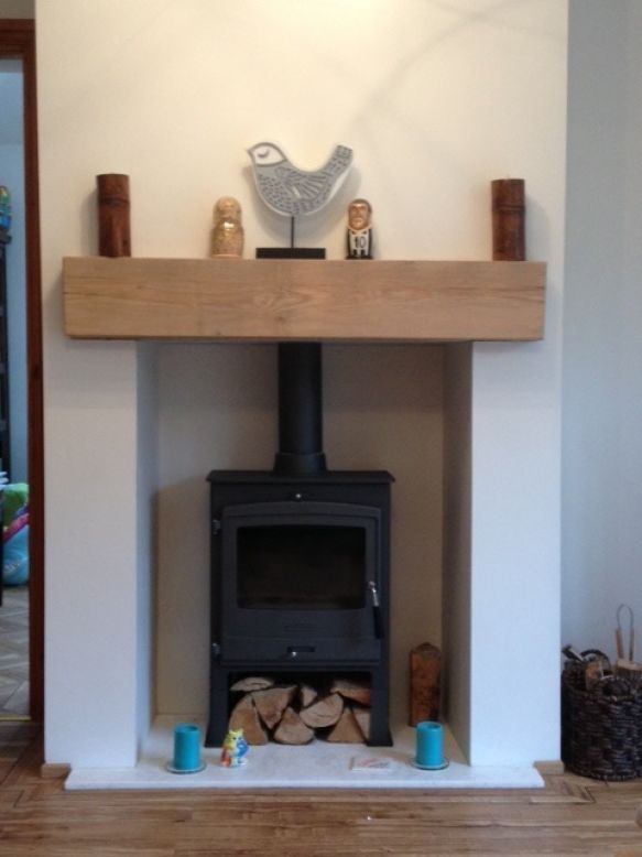 Wood Burning Fireplace With Sleepers Home Wooden Fireplace