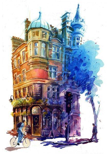Street Corner Watercolor Architecture Architecture Art