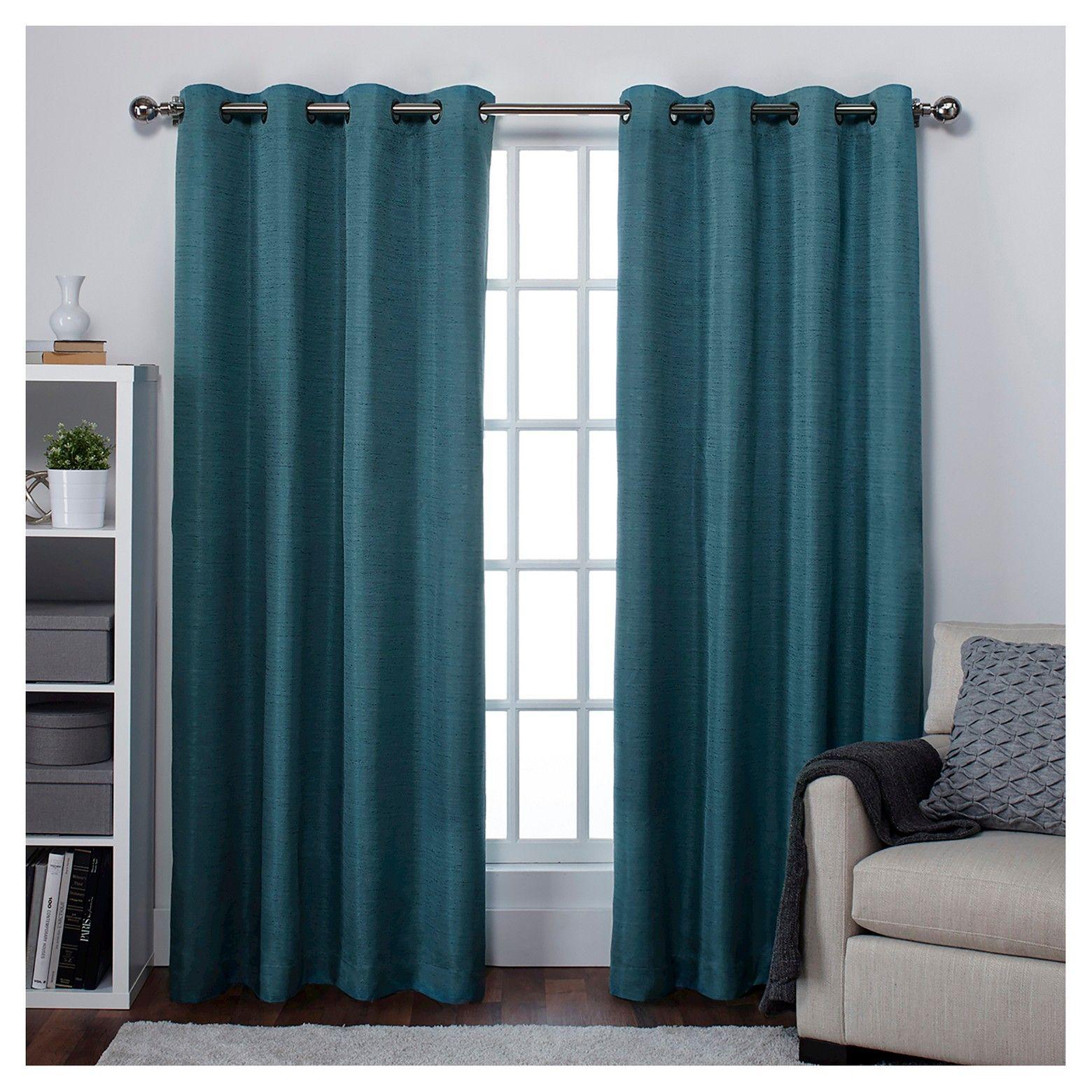 Raw Silk Thermal Room Darkening Window Curtain Panel Pair