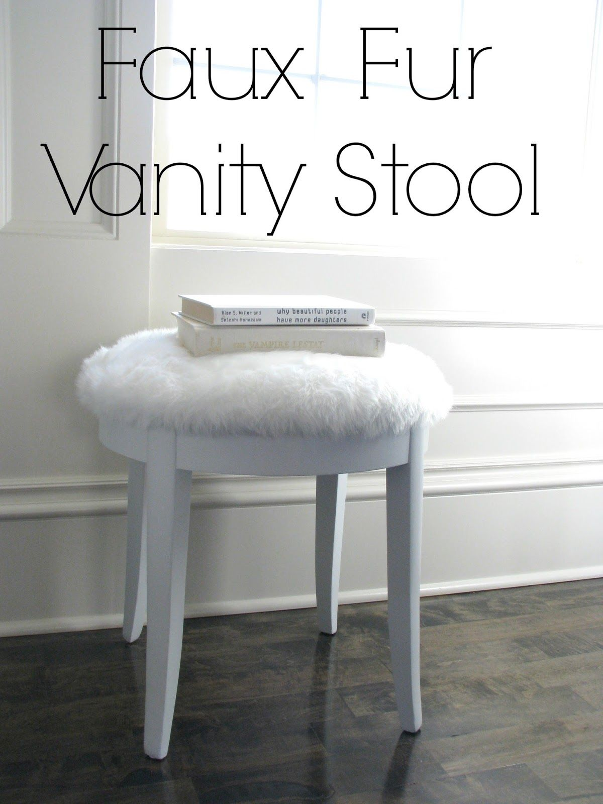 white fur vanity chair  life.love.larson: Look for Less Challenge: Faux Fur Vanity Stool ...