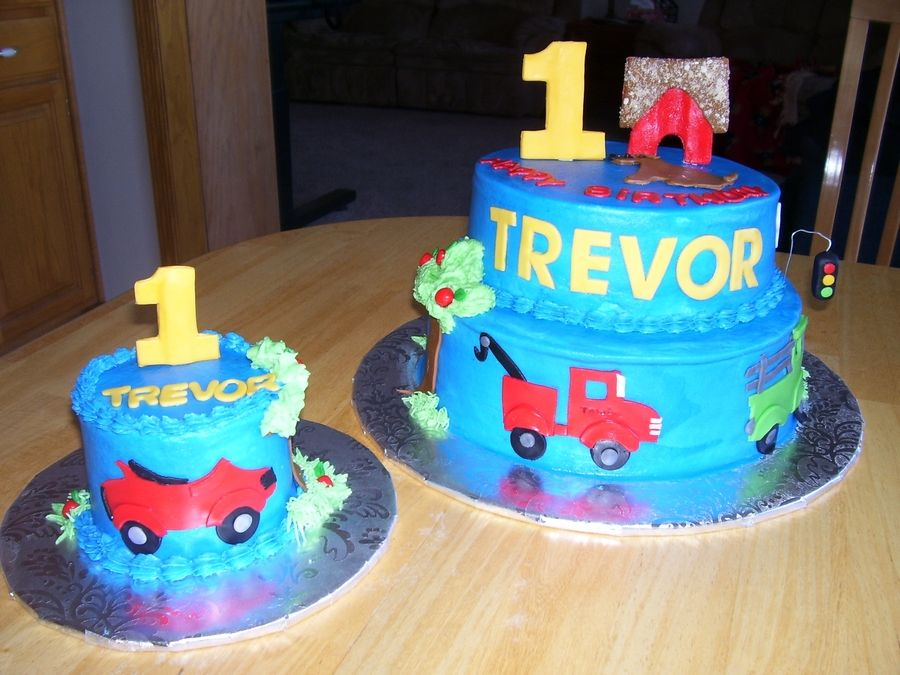 Awe Inspiring First Birthday Cake With Cars And Trucks With Images First Funny Birthday Cards Online Hendilapandamsfinfo